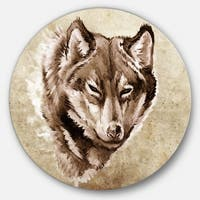 Designart 'Wolf Head Tattoo Sketch' Digital Art Circle Wall Art