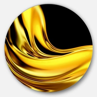 Designart 'Yellow Gold Texture Pattern' Abstract Digital Art Round Wall Art