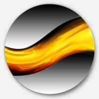 Designart 'Wave of Golden Lava' Abstract Digital Art Disc Metal Wall Art