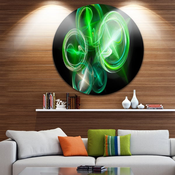 Designart 'Green in Black Fractal Desktop Wallpaper' Abstract Digital Round Wall Art