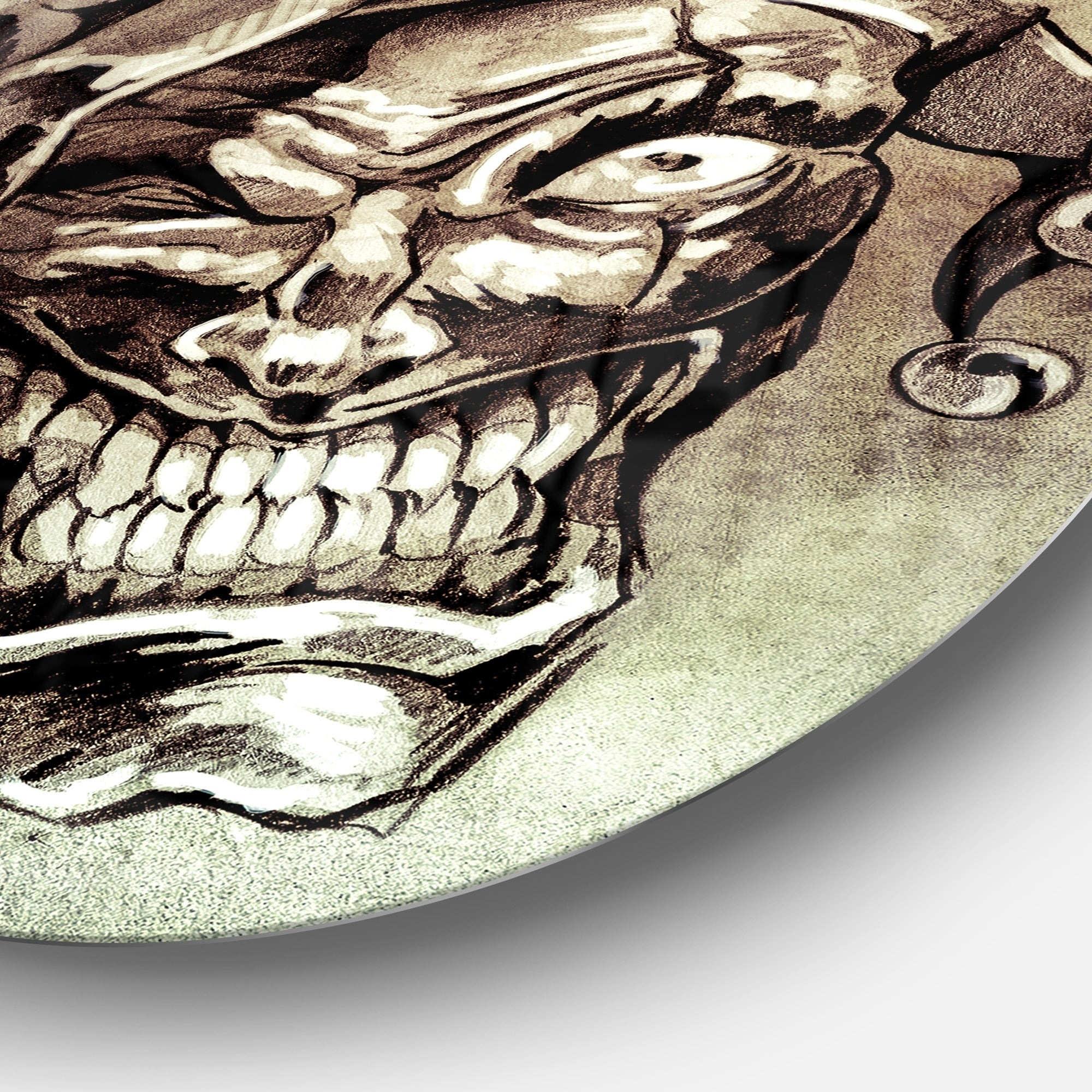 Shop For Designart Fantasy Clown Joker Tattoo Sketch Digital Art Round Wall Art Get Free Delivery On Everything At Overstock Your Online Art Gallery Shop Get 5 In Rewards With Club O 14263115