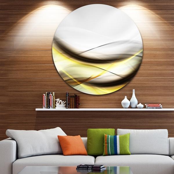 Designart 'Abstract Golden Waves' Abstract Digital Art Disc Metal Artwork