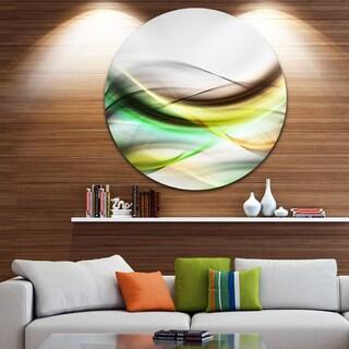 Designart 'Abstract Green Yellow Waves' Abstract Digital Art Round Metal Wall Art