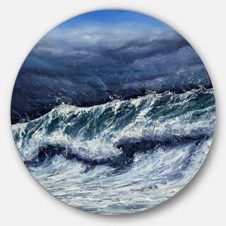 Designart 'Storm in Ocean' Seascape Photography Disc Metal Artwork