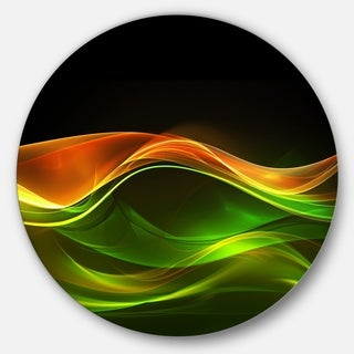 Designart 'Abstract Green Yellow in Black' Abstract Digital Art Large Disc Metal Wall art