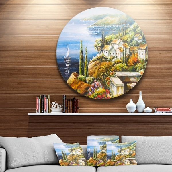 Designart Sailing Boat Remote View Seascape Circle Wall Art Overstock 14263131