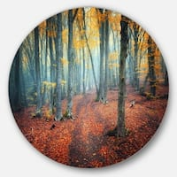 Designart 'Red and Yellow Autumn Forest' Landscape Photo Large Disc Metal Wall art