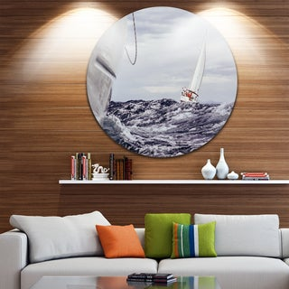 Designart 'Storm While Sailing' Seascape Painting Round Metal Wall Art