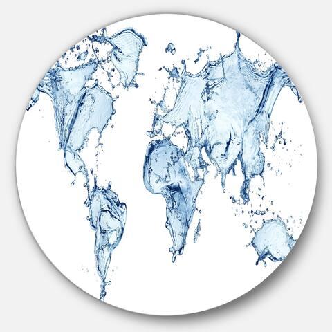 Designart 'World Map Water Splash' Map Digital Art Round Metal Wall Art
