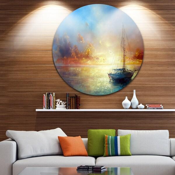 Pier One Round Wall Decor : Designart seascape pier painting round wall art