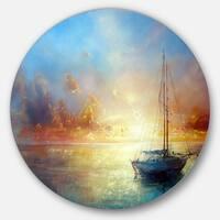 Designart 'Seascape Pier' Seascape Painting Round Wall Art