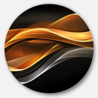 Designart 'Gold Silver Inward Lines' Abstract Digital Art Circle Wall Art