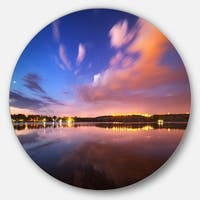 Designart 'Night Sky Over River with Clouds' Modern Photo Large Disc Metal Wall art
