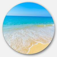 Designart 'Calm Blue Sea Waves' Seascape Photo Disc Metal Wall Art