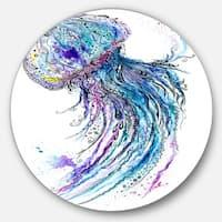 Designart 'Jelly Fish Watercolor' Animal Painting Circle Wall Art