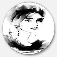 Designart 'Pretty Woman Black' Portrait Digital Art Disc Metal Artwork