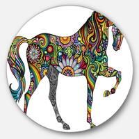 Designart 'Cheerful Horse' Animal Digital Art Disc Metal Artwork