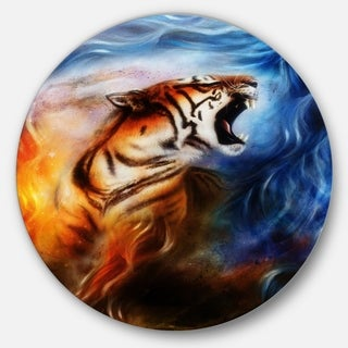Designart 'Gentle Tiger Portrait Collage' Animal Digital Art Circle Wall Art
