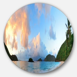 Designart 'Beach Sunset with Clouds' Landscape Photo Round Metal Wall Art