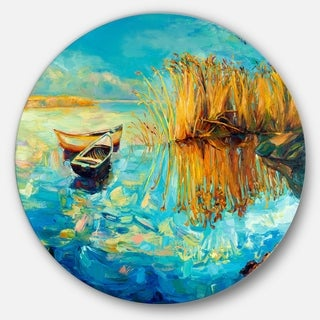 Designart 'Colorful Lake with Boats' Seascape Painting Large Disc Metal Wall art
