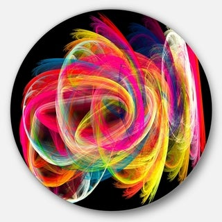 Designart 'Colorful Thick Strokes in Black' Abstract Digital Circle Metal Wall Art