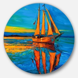 Designart 'Brown Sailing Boat' Seascape Painting Large Disc Metal Wall art