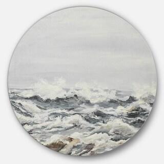 Designart 'Grey Sea Waves' Seascape Painting Disc Metal Wall Art