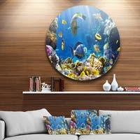 Designart 'Fish in Coral Reef' Seascape Photography Circle Wall Art