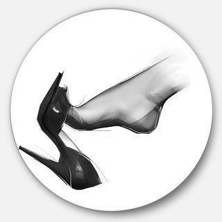 Designart 'Leg Wearing High Heel Shoe' Portrait Digital Art Round Wall Art