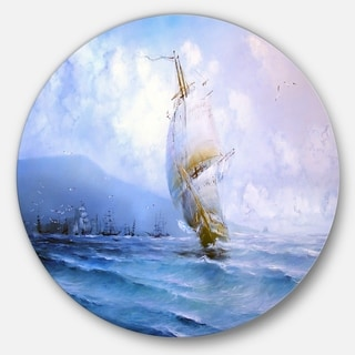 Designart 'Vessel in Blue Sea' Seascape Painting Circle Wall Art