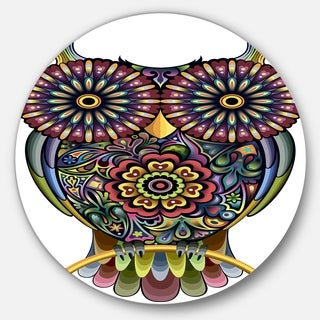 Designart 'Funny Owl' Animal Digital Art Round Wall Art