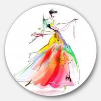 Designart 'Young Woman Yellow Red' Portrait Digital Art Circle Wall Art