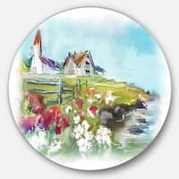 Designart 'Buildings in Green Meadow' Landscape Painting Round Metal Wall Art