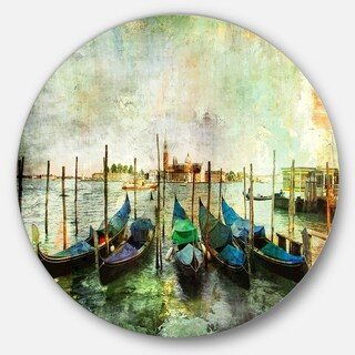 Designart 'Venetian Gondolas' Landscape Painting Disc Metal Wall Art