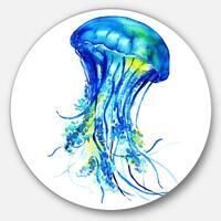 Designart 'Ocean Water Jellyfish' Animal Digital Art Disc Metal Wall Art