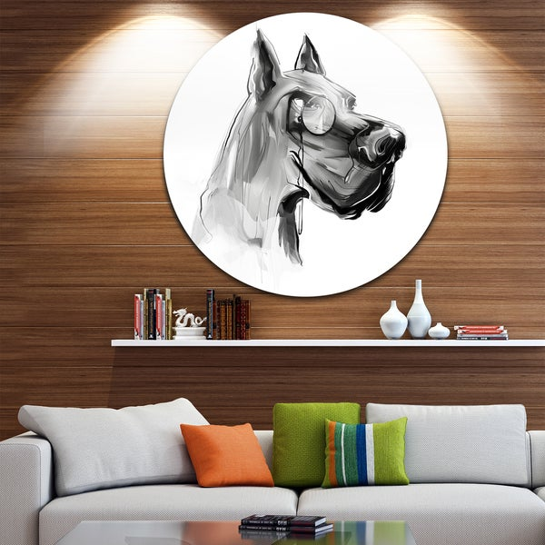 Designart 'English Bulldog with Monocle' Animal Digital Art Large Disc Metal Wall art