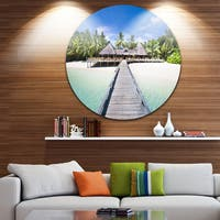 Designart 'Beach with Coconut Palm Trees' Landscape Photo Circle Wall Art