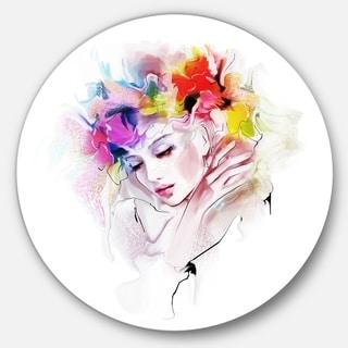 Designart 'Girl with Flowers Wreath' Portrait Digital Art Disc Metal Artwork