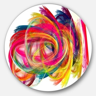 Designart 'Colorful Thick Strokes' Abstract Digital Art Disc Metal Artwork