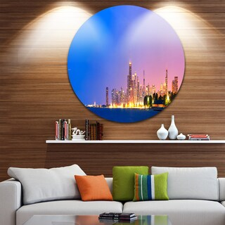 Designart 'City of Chicago Skyline' Cityscape Photo Disc Metal Wall Art