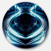 Designart 'Blue Light Trails' Abstract Digital Art Large Disc Metal Wall art