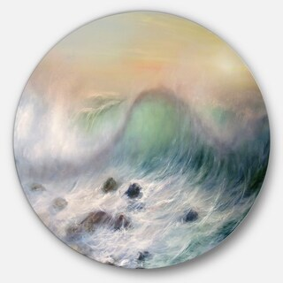 Designart 'Mountains of Waves' Seascape Painting Round Metal Wall Art