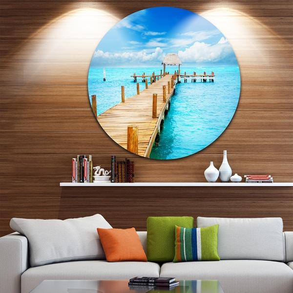 Designart \'Tropic Paradise Jetty in Mexico\' Seascape Photo Disc ...