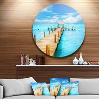 Designart 'Tropic Paradise Jetty in Mexico' Seascape Photo Disc Metal Wall Art