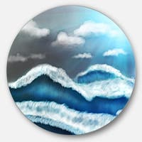 Designart 'Blue Sky with Clouds' Landscape Large Disc Metal Wall art