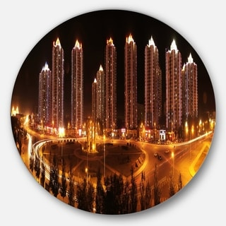 Designart 'Chinese Cities' Cityscape Photography Large Disc Metal Wall art