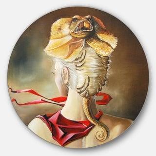 Designart 'Girl with Surreal Hat' Portrait Digital Art Disc Metal Wall Art