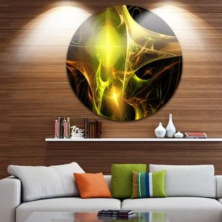 Designart 'Golden Bright Candle' Abstract Digital Art Round Wall Art