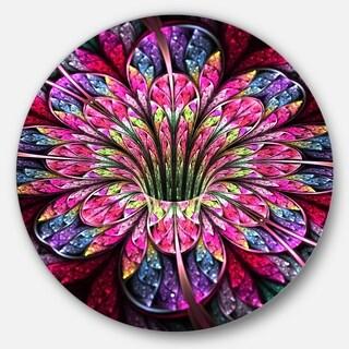 Designart 'Pink Blue Colorful Flower' Floral Digital Art Large Disc Metal Wall art