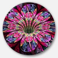 Designart 'Pink Blue Colorful Flower' Floral Digital Art Large Disc Metal Wall art